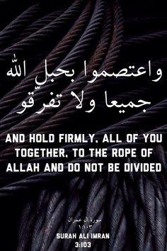 """Le Noble Coran 3:103 - Et cramponnez-vous tous ensemble au """"Habl"""" (câble) d'Allah et ne soyez pas divisés; et rappelez-vous le bienfait d'Allah sur vous : lorsque vous étiez ennemis, c'est Lui qui réconcilia vos cœurs. Puis, par Son bienfait, vous êtes devenus frères. Et alors que vous étiez au bord d'un abîme de Feu, c'est Lui qui vous en a sauvés. Ainsi, Allah vous montre Ses signes afin que vous soyez bien guidés."""