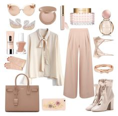"""""""blushing"""" by queenie-de-angelis ❤ liked on Polyvore featuring Chicwish, Antipodium, Yves Saint Laurent, Swarovski, Valentino, tarte, Clinique, Beautycounter, Dolce&Gabbana and Linda Farrow"""