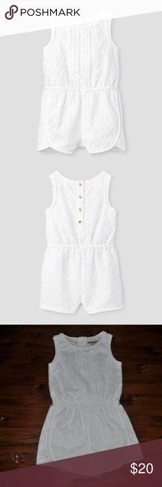 New GENUINE KIDS OSHKOSH White Eyelet Lace Romper This Toddler Girls' Eyelet Romper by Genuine Kids from Oshkosh in Fresh White Opaque is the perfect summer outfit for your gal. With its sleeveless design and button down back, this casual romper will be ideal for your little darling. Opaque.  size 4T new without tags color: fresh white   More kids clothes in my posh closet @cjrose25 . Bundle your likes for a discount & save on shipping. OshKosh B'gosh Bottoms Jumpsuits & Rompers