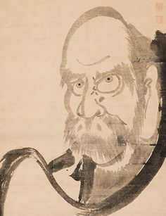 Bodhidharma, by Hakuin Ekaku (Japanese, 1685–1768). Ink on paper. Asian Art Museum, Gift from The Collection of George Gund III, 2016.82. Photograph © Asian Art Museum.