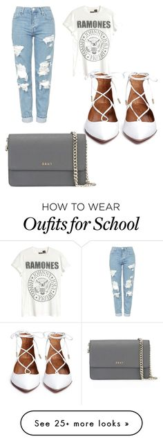 """School outfit"" by justinezborowski on Polyvore featuring Topshop and DKNY Cute Fashion, Teen Fashion, Fashion Outfits, Womens Fashion, Mode Outfits, Stylish Outfits, Flats Outfit, Look Girl, Lace Up Flats"