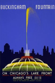 Chicago World's Fair Poster - Buckingham Fountain - Vintage Advertisement (12x18 Gallery Quality Metal Art), Multi