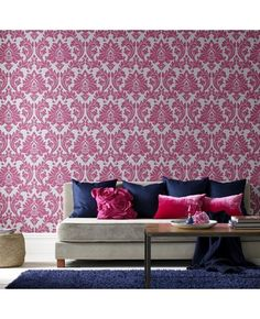 Majestic wallpaper in pink w/navy accents