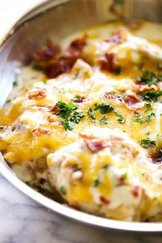 Skillet Cheddar Bacon Ranch Chicken - Chef in Training