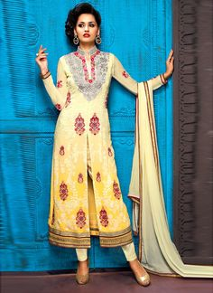 Light Yellow Straight Long Party Wear Salwar Suit
