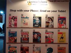 ebook  zinio display on wall--or have the zinio portion on wall, ebooks on display table?