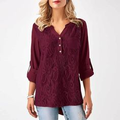 Cheap lace shirt, Buy Quality plus size tops directly from China chiffon blouse Suppliers: ForeFair Women Plus Size Tops Back Chic Button Ruched Style Lace Chiffon Blouse Black Gray Burgundy Casual Lace Shirt Red Blouses, Blouses For Women, Lace Blouses, Women Tunic, Black Chiffon Blouse, Lace Chiffon, Chiffon Shirt, Chiffon Fabric, Chiffon Tops