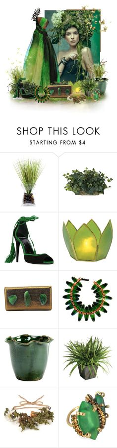 """""""I love green"""" by caribea ❤ liked on Polyvore featuring Once Upon a Time, Nearly Natural, Pierre Hardy, Cultural Intrigue, Flora Bella, Vietri, Ethan Allen, Littledoe, Erickson Beamon and GREEN"""