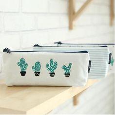 Cute Cactus Canvas Pencil Cases