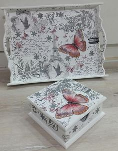 Decoupage in Holz. Decoupage Suitcase, Decoupage Furniture, Decoupage Box, Decoupage Vintage, Vintage Paper, Painted Furniture, Furniture Design, Wooden Crafts, Diy And Crafts