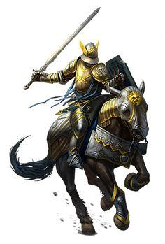 Human Cavalier Knight on Horseback - Pathfinder PFRPG DND D&D d20 fantasy