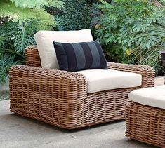 Monterey All-Weather Wicker Lounge Chair Wicker Lounge Chair, Wicker Sofa, Lounge Seating, Chair And Ottoman, Rattan, Outdoor Chairs, Outdoor Furniture, Outdoor Lounge, Outdoor Living