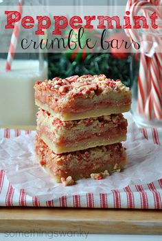 Peppermint Crumble Bars won't crumble in your hands, but they'll definitely melt in your mouth. You'll love these treats so much that you'll have no choice but to add them to your list of Christmas dessert recipes. Köstliche Desserts, Holiday Desserts, Holiday Baking, Christmas Baking, Holiday Treats, Holiday Recipes, Delicious Desserts, Dessert Recipes, Cookbook Recipes