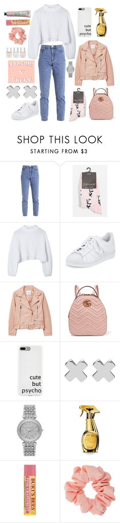"""""""Untitled #233"""" by drpsks ❤ liked on Polyvore featuring Lost Ink, Topshop, adidas, MANGO, Gucci, Witchery, Michael Kors, Moschino, Miss Selfridge and Nails Inc."""
