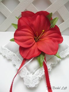 Red Hibiscus Wedding Ring Pillow, Summer Wedding, by BridalLoft, $24.95