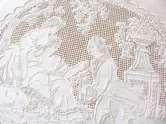 9 Feet Long Table Runner Appenzell Embroidery Romantic Courtship Music Love   eBay