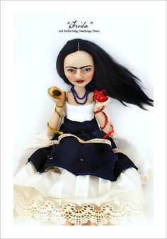 Frida Kahlo art doll.