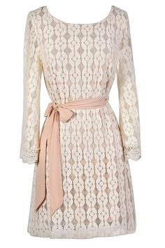 #Lily Boutique - #Lily Boutique Flower Child Embroidered Bell Sleeve Pink and Ivory Dress - AdoreWe.com