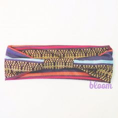 Baja tribal aztec head wrap - purple yellow blue pink orange - wide stretch headband with knot