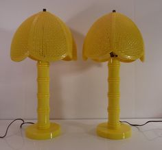 Pair of Vintage Big Bird Bright Yellow Kitsch Plastic Wicker Shade Table Lamps—FREE SHIPPING   @TheLampEmporium   Wicker Paradise Blog.