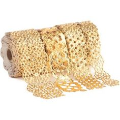 Add glitz and glam to crafts, gift wrap and more with this elegant adhesive gold foil lace tape. Each of the four rolls has a unique design.