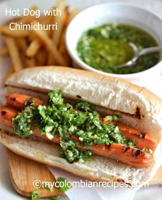 Hot Dog with Chimichurri Sauce | by Erica Dinho | July 19, 2013