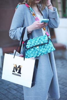 #MMissoni | Azure mélange #raffia effect bag with #multicolored #plexiglass shoulder strap | Summer 2014 Collection #musthave #itbag | VictoriaPlatina: Ruban fashion day