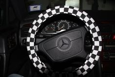 Black and White Checkers Cover wheel Steering by SouthernAplus