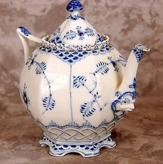"Royal Copenhagen Denmark Fine China 7"" Tall Blue Fluted Teapot Mint Shape 