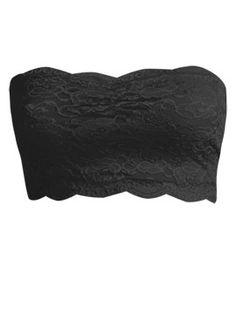 ARDEN B: Scallop Lace Bandeau [Black] $19.50
