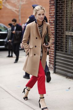 Camel coat, love it with red.