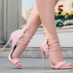 Pink Lace Up Stilettos