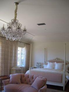 Pale Pink Bedroom with Chandelier - Velvet & Linen:
