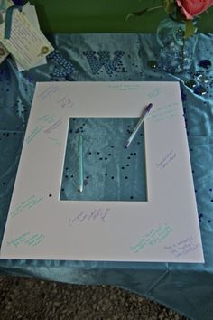 Frame insert for quests to sign at the wedding for bride and groom