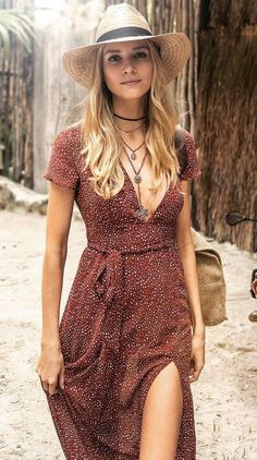 #winter #fashion / Red Dotted Dress + Cream Hat: