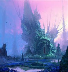 fantasy landscape Blue Valley by Finnian Macmanus Fantasy Art Watch Landscape Concept, Fantasy Landscape, Landscape Art, Arte Sci Fi, Sci Fi Art, World Of Fantasy, Fantasy Places, Fantasy Concept Art, Fantasy Artwork