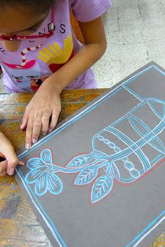 Drawing plants with a contour line and then repeating the line with other colors.