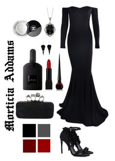 Morticia Addams. Deathly fashion and gothic accessories decorated with vintage lace and macabre accents. A gloomy, dark perfume to enchant and intoxicate. Complete with Morticia's signature blood red lips and nail make-up.