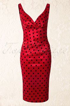 50s Adrina Polka Dot Pencil Dress in Red - Vixen