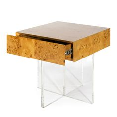 Jonathan Adler Bond End Table with Lucite Base | Clear Home Design Table Furniture, Home Furniture, Modern Furniture, Street Furniture, Luxury Furniture, Bedroom Furniture, Furniture Design, Wood End Tables, Side Tables