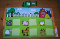 "Super Tot is 29 months old. Here's a sneak peak at our Tot Trays for this week: ""Lacing"" foam beads onto stick (fine motor) . File Folder Activities, Farm Activities, File Folder Games, Animal Activities, Educational Activities, Preschool Activities, File Folders, Preschool Printables, Toddler Learning"