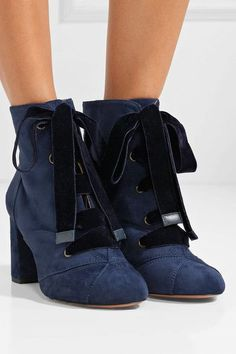 Chloé | Graphic Leaves lace-up suede ankle boots | NET-A-PORTER.COM