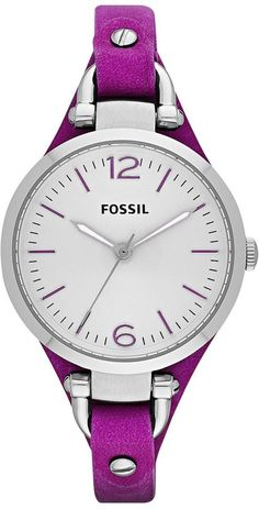 Fossil Watches, Women's Georgia Three Hand Leather Watch - Magenta #ES3317
