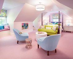 Beautiful girls room! Pops of color + soft pink <3 Designer: Carey Kaplan