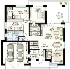 Antares T projekt - Parter m² garaż m² House Plans Mansion, Bungalow House Plans, Bedroom House Plans, New House Plans, Modern House Plans, Plans Architecture, Windows Architecture, Singapore Architecture, Building Design