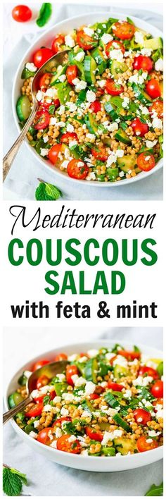 Mediterranean Couscous Salad with Feta and Mint — A quick and easy meal that's fresh and flavor packed! Loaded with crisp veggies, creamy feta, and the BEST  lemon dressing. Recipe at wellplated.com @Well Plated
