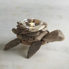 Turtle Driftwood Tealight Candle Holder Brown