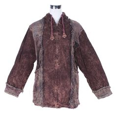 VELVET MIX BOHO STONEWASH JACKET  This vintage ethnic jacket is perfect for winter. With its long sleeves and generous hood with drawstrings it will certainly keep you snug when the evenings start to get colder. It also features practice rectangular pockets and full-length zip.  Unit Price: US$22.98