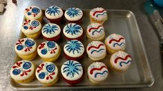 Festive Independence Day cupcakes.