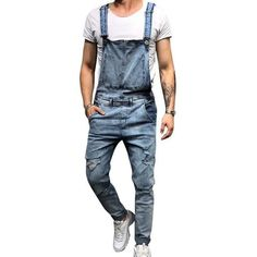 0ba2f64d73cb LITTHING 2018 Fashion Men s Ripped Jeans Jumpsuits Street Distressed Hole  Denim Bib Overalls For Man Suspender